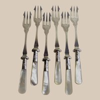 Matched Set of Six Seafood Cocktail or Pickle Forks Mother of Pearl Handles