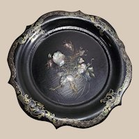 Victorian Paper Mache' Plate with MOP Inlay