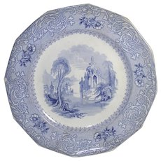 Blue Transfer Ware Plate in Montilla Pattern by Davenport c.1848