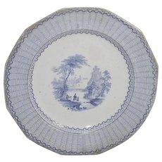 Blue Transferware IVANHOE Pattern Lunch Plate  Pearl Stone
