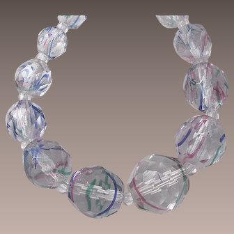 Vintage Art Deco Watermelon Glass Faceted Bead Necklace Rainbow Iris