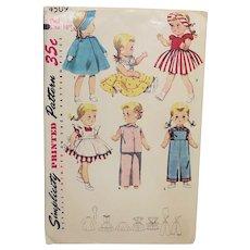 "Simplicity 16"" Uncut Doll Pattern  4509   pre Zip Code 1963"