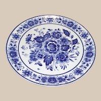 Royal Delfts Blauw Handwerk Round Floral Plate Blue and White