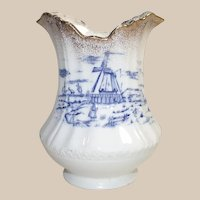 Victorian Blue and White Vase with Windmills