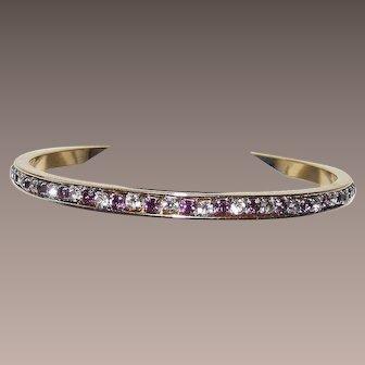 Vintage Purple and White Rhine Stone Hard Bangle Bracelet