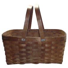 Small Ash Splint Picnic or Garden Gathering Basket