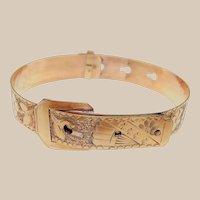 Aesthetic Movement - Edwardian 10k Gold Filled Buckle Cuff Bracelet with Fan