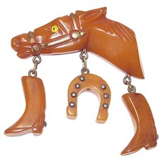 Butterscotch Bakelite Western Theme Horse Head with Cowboy Boots and Horse Shoe