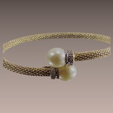 Cultured Pearl By Pass Bangle Gold Over Silver with CZ's