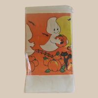 Halloween Crepe Paper Tablecloth - Jol's, Black Cats, Bats and a Ghost that looks like Casper