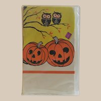 Halloween Crepe Paper Tablecloth Owls and JOL's