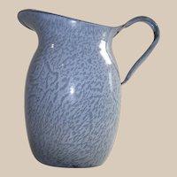Vintage Light Blue Granite Ware Milk Pitcher For the Table