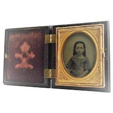 Young Girl Daguerreotype in Dark Brown Gutta Percha Case