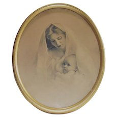C 1920s Mother and Baby Framed Sepia Photograph