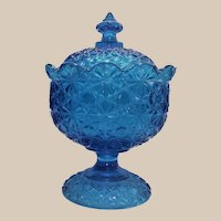 LG Wright / Fenton Blue Daisy Button Pedestal Candy Jar and Lid