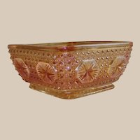 Marigold Carnival Glass Star and Medallion Candy Dish