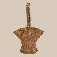 Marigold Carnival Glass Basket - Basket Weave Pattern - by Dugan