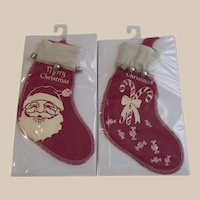 Felt Christmas Stocking Red with White Stencil