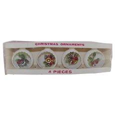 Vintage Jewelbrite 1960s 3-D Scenic Cut Away Snowball Christmas Ornaments Mint In Box Set