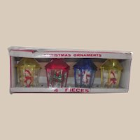 Vintage Jewelbrite Christmas Ornaments Dioramas Musical Instruments and Candle