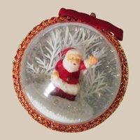 Single Santa Diorama Ornament - Large Mid Century Clear – Hard Plastic