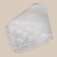 Lovely Ladies White Hankie with Hand Made Lace Edging