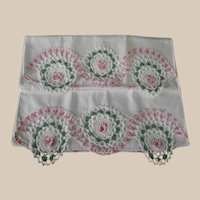 Vintage Pillowcases with Cottage Style Pink Floral Crochet Edges