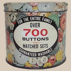 """Vintage Button Tin """"Over 700 Buttons"""" -  Button Graphics"""