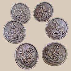 Vintage Set of Six Metal Buttons Spectemur Agendo Lion in Shield