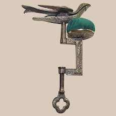 Victorian Brass Sewing Bird Patented Feb. 15, 1853 with Pin Cushion and C Clamp