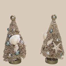 Vintage White Bottle Brush Tree with Sea Shells and Colored Beads