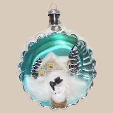 Glass Indent Diorama Christmas Ornament with Snowman in Front of House