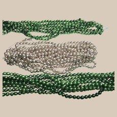 Silver and Green Mercury Glass Ball Christmas Garland