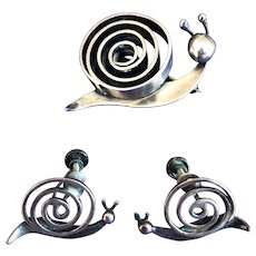 Modernist Bill Tendler - Sterling Snail Pin and Earrings - 1950's