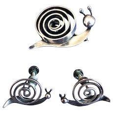 Modernist Bill Tendler - Sterling Snail Pin and Earrings - 1950's