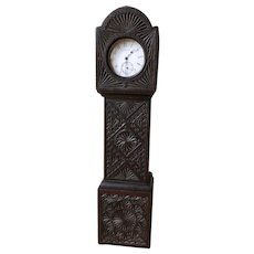 "Carved Wooden Watch Stand - ""Grandfather Clock"" form"