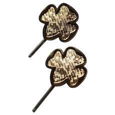 Pair of Girl Scout Trefoil Hat Pins with the Original Card - Circa 1940's