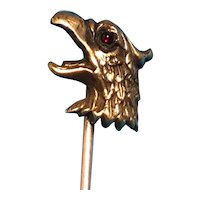 14K Gold Griffin Stickpin with Cabochon Ruby Eye
