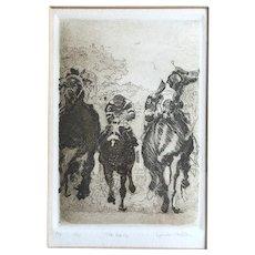 Framed Etching of Race Horses Signed Haller - Artist's Proof