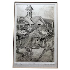 Framed Etching of a Horse Race - Signed Haller - Artist's Proof