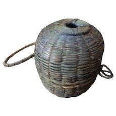 Penobscot Indian Sweet Grass and Splint Ash Wood Yarn Holder Basket