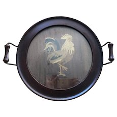 Round Wooden Serving Tray with Rooster Motif