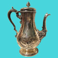 Early Elkington & Co Silver Plated Coffee Pot Dated 1851