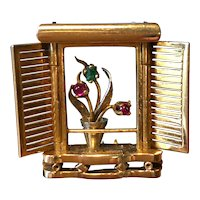 Gorgeous Unusual Pin - Shuttered Window with Plant - 2 Color 14K Gold Gem Set Dress Clip