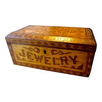 Inlaid Wood Jewelry Box with Painting Inside