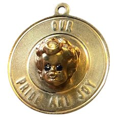 """14K Gold and Sapphire Baby Charm - 1960's -""""Pride and Joy"""""""