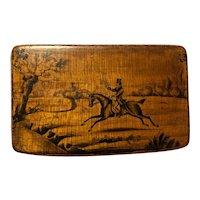 Victorian Mauchline Ware Penwork Snuff Box with Horse & Rider Hunt Scene