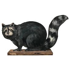 Hand Painted Raccoon - Wooden Cutout on Base