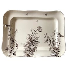 """Aesthetic Movement Staffordshire 15 1/2"""" Tray - Flowers & Bees - 1884"""