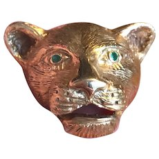 Gorgeous BIG-CAT Pin - Panther Lion Cougar - 14k Gold & Emerald Eyes